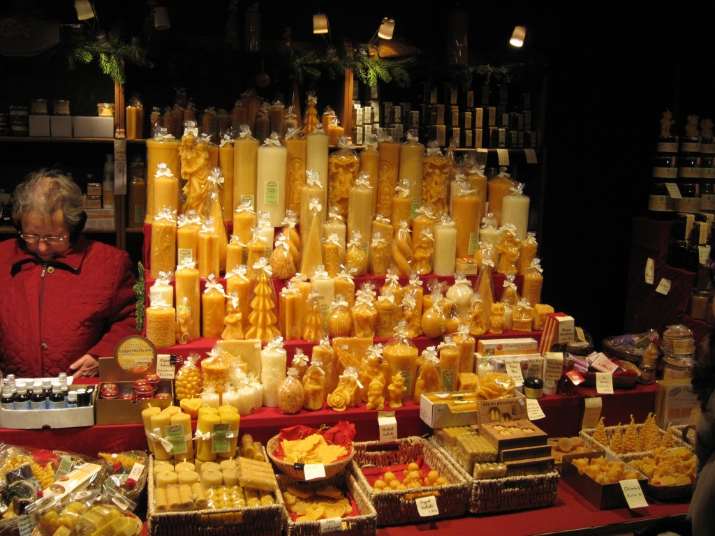 Beeswax candles for sale at an outdoor Christmas market in Vienna, Austria, December 12, 2012.